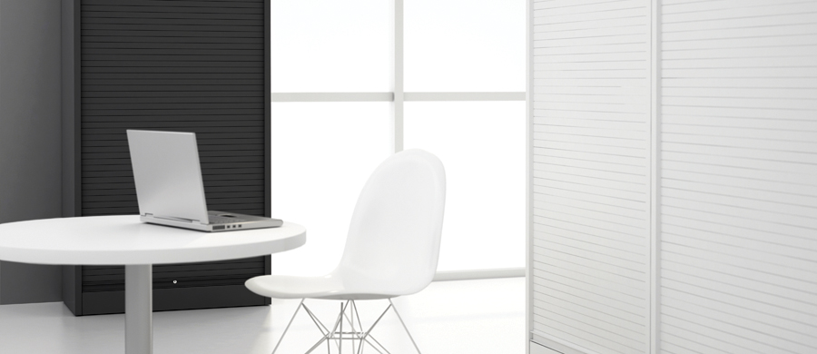 Vertical Tambour range offers option of steel blind for increased security #officefurnituregibraltar