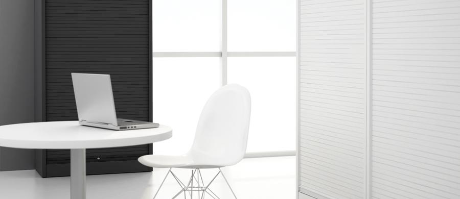 Vertical Tambour range offers option of steel blind for increased security #officefurnituregibraltar